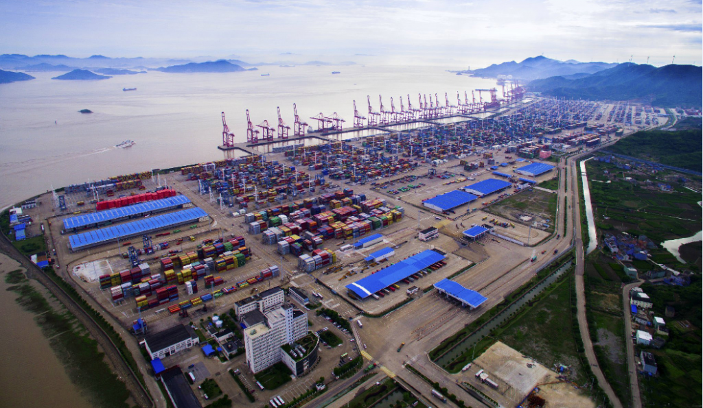 A aerial view of Ningbo Port