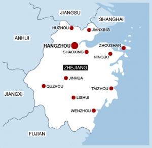 map of Zhejiang province