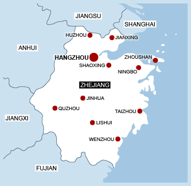 map of Zhejiang province