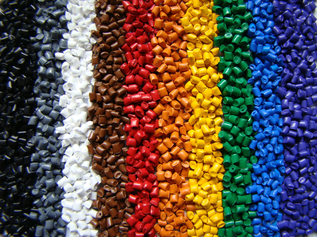 plastic material in different colors