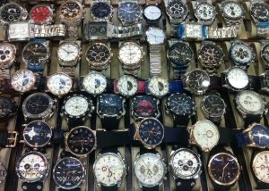 Watches displyed in the Guangzhou clock market