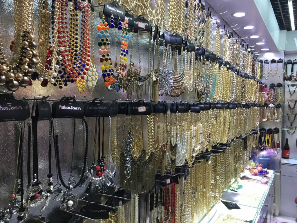 Jewelry products booth in Yiwu wholesale market