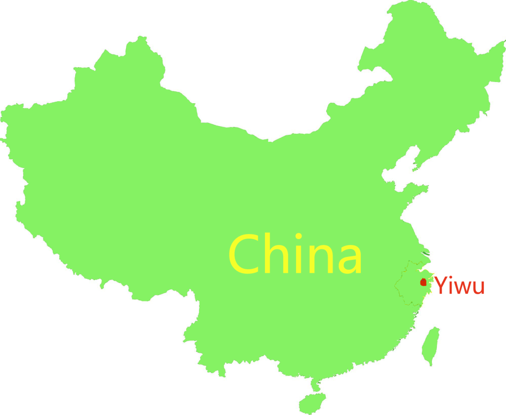 Yiwu of China map