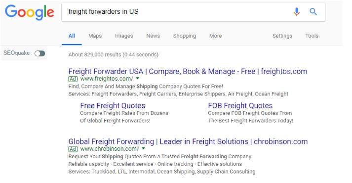 Searching for the U.S. freight forwarder on Google