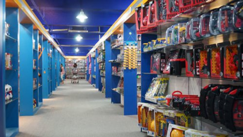 Customers are selecting toys in showroom company