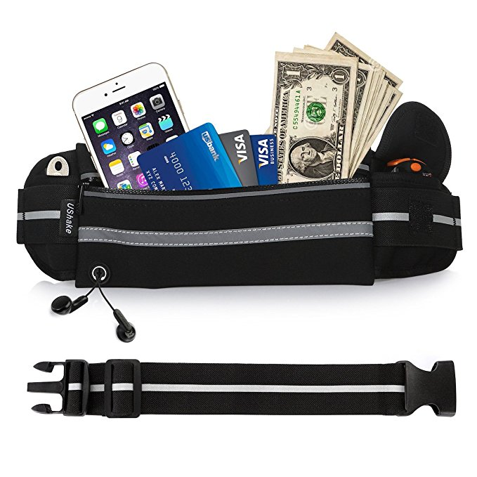 UShake Gear Running Belt, Bounce Free Pouch Bag, Fanny Pack Workout Belt Sports Waist Pack Belt Pouch for Apple iPhone 8 X 7 6 6+ Samsung Note Galaxy in Running Walking Cycling Gym with Extender-01_