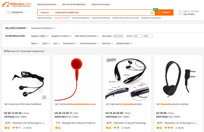 Search Disposable Headphones on Alibaba