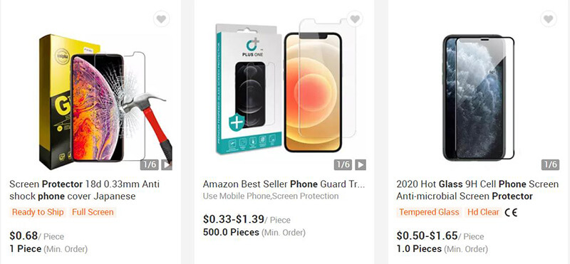 Phone protector glass on alibaba