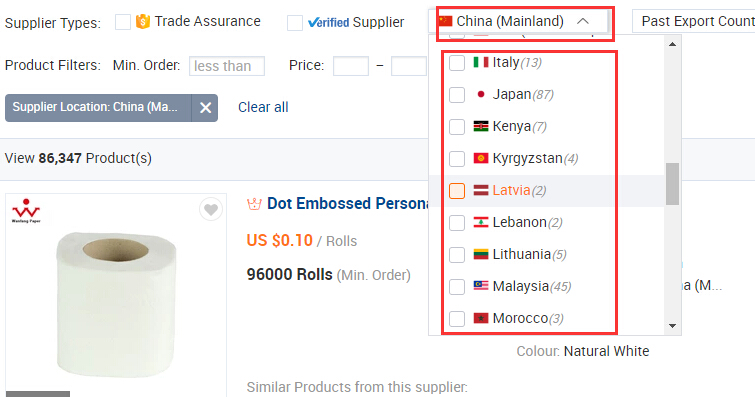 Chinese suppliers and non-Chinese suppliers