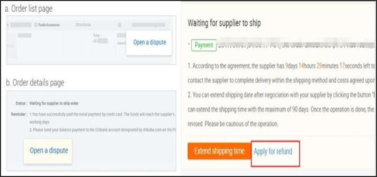 apply for refund on alibaba