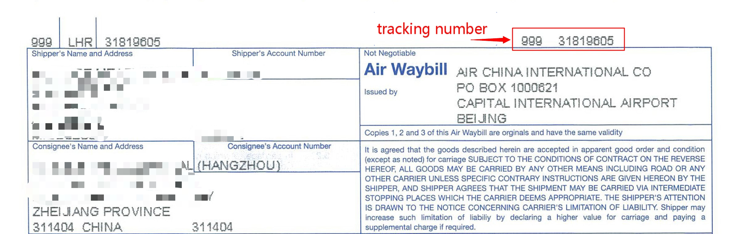 airway bill