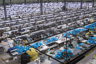 large scale lingerie factory