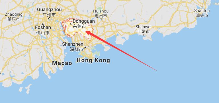 Location of Dongguan China