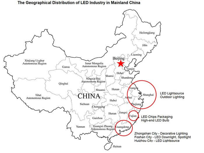 geographical-distribution of LED industry in Mainland China