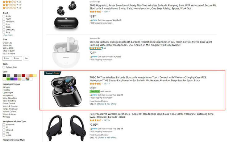Amazon product information