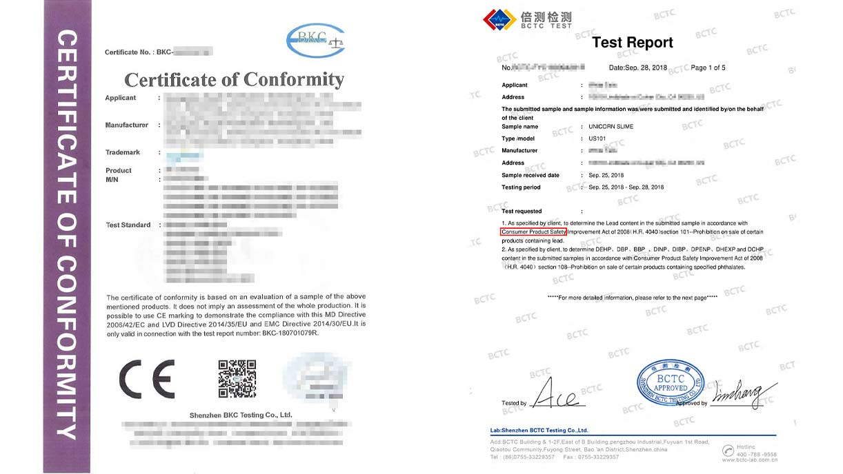 CE & CPSC certificate samples