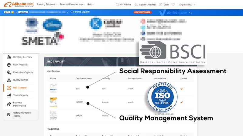 ISO+BSCI in supplier profile