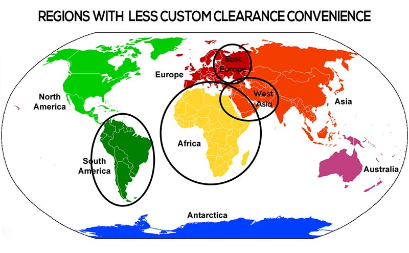 Small countries with less fright forwarders