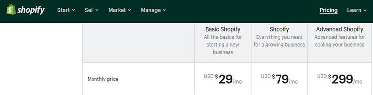 shopify price plan