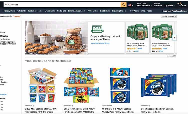 """search results page for search term """"cookies"""" on Amazon"""