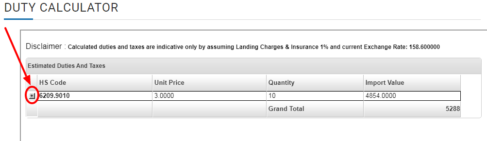 click on the small + button on the left side to view the tax details